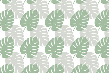 Trendy Tropical Leaves Background. Vector Pattern.