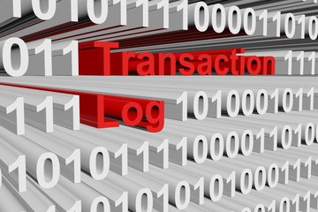Transaction log in the form of binary code, 3d illustration
