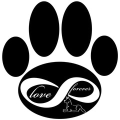 Forever love icon with dog and paw isolated on white background. Vector illustration