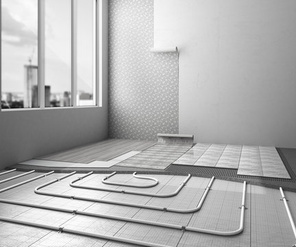 The concept of internal repair work. Room with a warm floor and different types of coverage 3d ernder