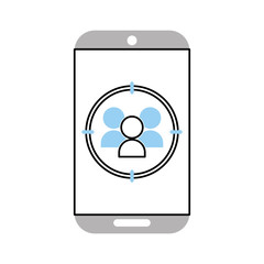 smartphone device with contacts isolated icon vector illustration design