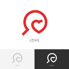 Love search logo - red heart and magnifier symbol. Marriage agency and medicine vector icon.