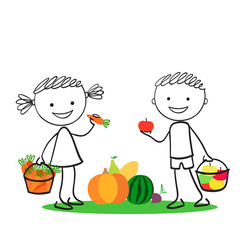 Boy and girl holding carrot and apples