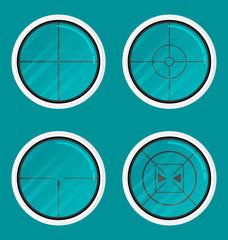 Flat modern design Icon sight set vector