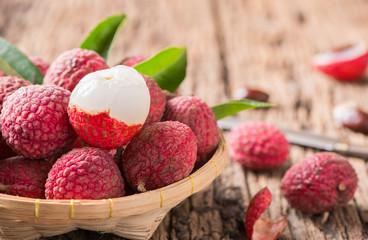 fresh organic lychee fruit on basket - fototapety na wymiar