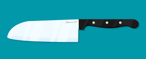 Flat vector kitchen knife