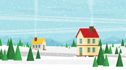 Christmas card with houses in flat style vector.