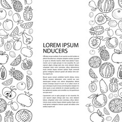 Poster template with hand drawn fruit