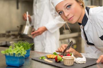 team work in restaurant kitchen