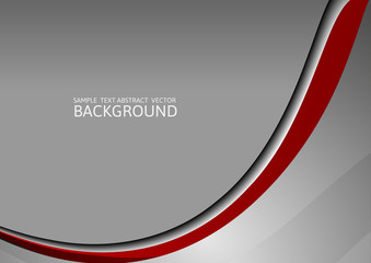 Gray and red  curve abstract vector background with copy space