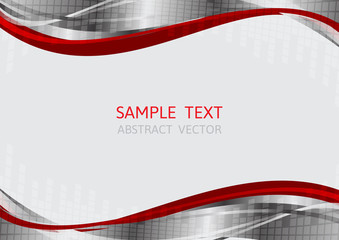 silver and red wave vector background with copy space
