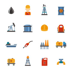 Mineral oil petroleum extraction, production, transportation factory logistic equipment vector icons illustration