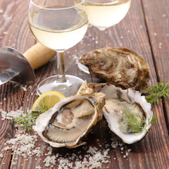 oyster and wine glass