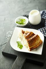 Pie with potato and herbs or Burek pie