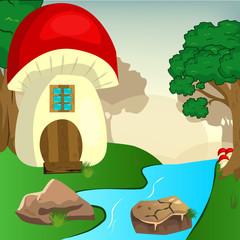 Mushroom house in the woods illustration
