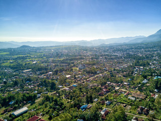 Aerial view of the town of Ruteng in western part of East Nusa Tenggara in Indonesia.