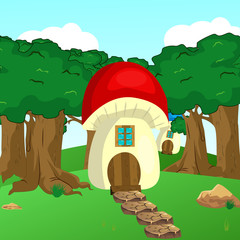 Mushroom house in the woods illustration