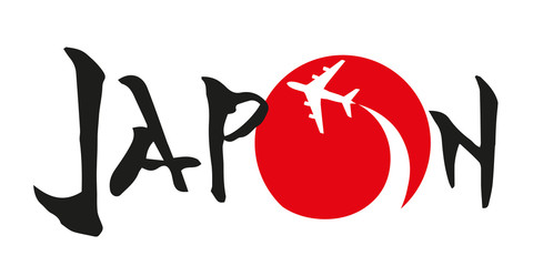 japon - voyage - Tokyo - destination - symbole - avion - pictogramme - japonais