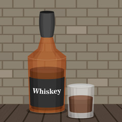 Flat vector bottle of whiskey colorful illustation.