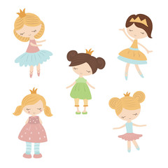 Set of cartoon girls