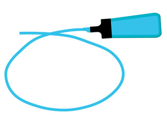 Single blue highlighter pen with hand drawn blue circle to highlight text.