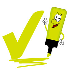Yellow cartoon highlighter pen with bold tick or check mark.