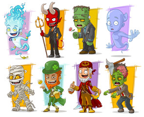 Cartoon cool funny monster characters vector set
