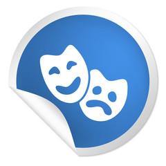 runder Sticker blau - Masken - Theater