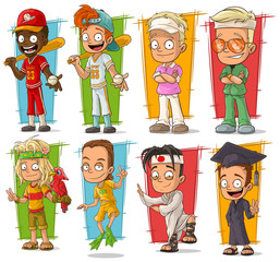 Cartoon young sport player character vector set