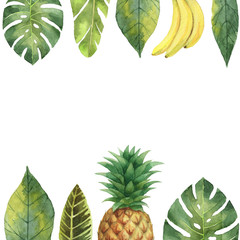 Watercolor banner tropical leaves, pineapple and banana isolated on white background.