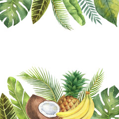 Watercolor banner tropical leaves, pineapple, coconut and banana isolated on white background.