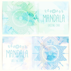 Greeting, invitation card with mandala on the watercolor background. Indian pattern. Mehndi style. Vector illustration.