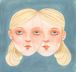 Portrait of blonde girl with two faces