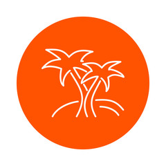 Two palm trees on an island, vector round linear icon, flat style