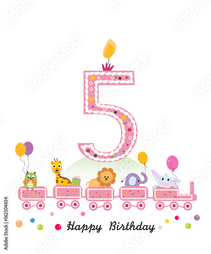 Happy Fifth Birthday Girl Greeting Card Birthday Train With Animals
