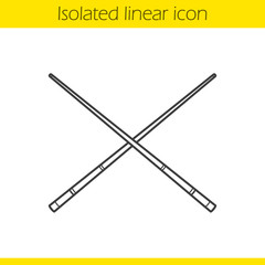 Crossed billiard cues linear icon