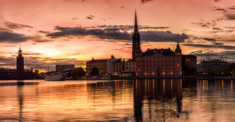 Scenic Stockholm City Old Town Sunset Skyline. Panoramic montage from 31 images