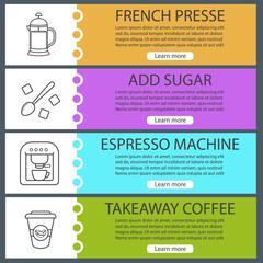 Coffee web banner templates set