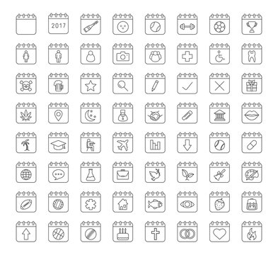 Calendars linear icons set