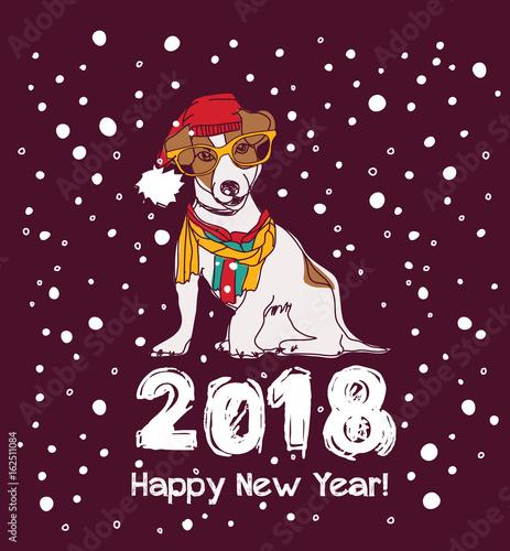 snow happy new year card 2018 dog
