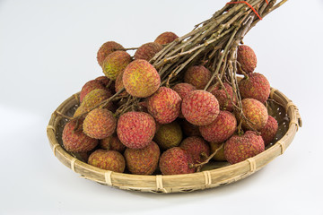 Bunch of fresh lychee (litchi, liche) on a white background