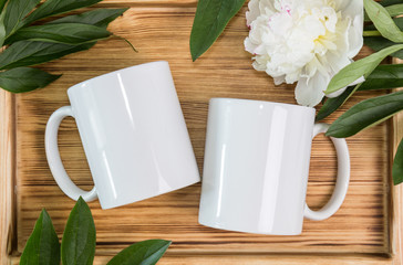 Two white mugs, cups wedding mockup