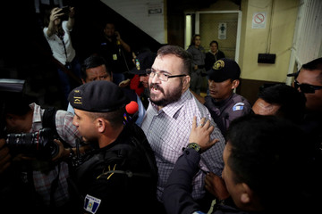 Javier Duarte, former governor of Mexican state Veracruz, arrives to a court for extradition proceedings in Guatemala City
