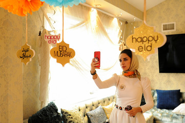 Yemeni-American takes photos of Eid decorations in celebration of Muslim holiday Eid al-Fitr in Brooklyn, New York
