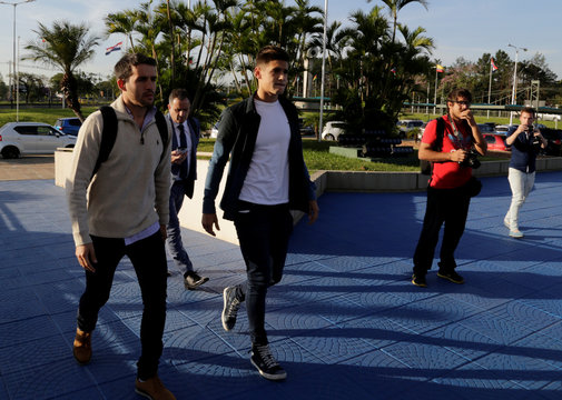Players of Argentina's River Plate Mayada and Martinez Quarta arrive at the CONMEBOL headquarters after they both tested positive for anti-doping controls during two games of the first round of the Copa Libertadores de America, in Luque