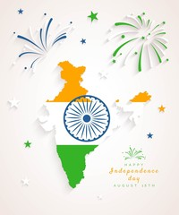 15 August. Indian Independence Day greeting card. Celebration background with fireworks, map, flag and text. Vector illustration