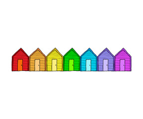 Colorful Beach Hut Line