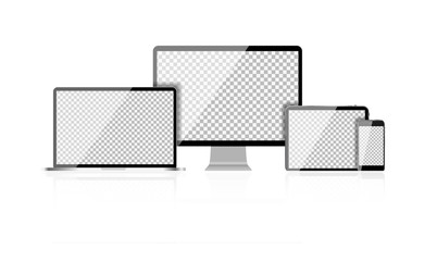 Realistic Computer Laptop, Mobile Phone, Tablet PC with Abstract Transperent Wallpaper on Screen Isolated on White Background. Vector Illustration