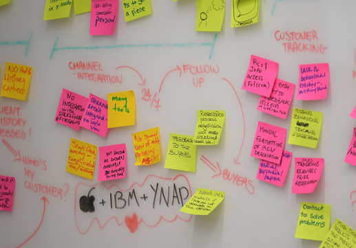 Stickers and a flow chart are seen in a meeting room of online clothing retailer Yoox Net-A-Porter at their Tech Hub premises at White City in London