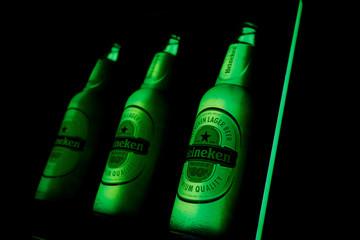 A neon sign for Heineken beer is seen at a bar in Monterrey